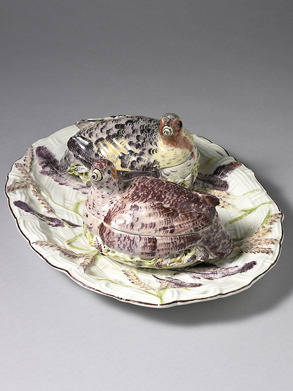 An important Pair of Chelsea Partridge Tureens and Covers