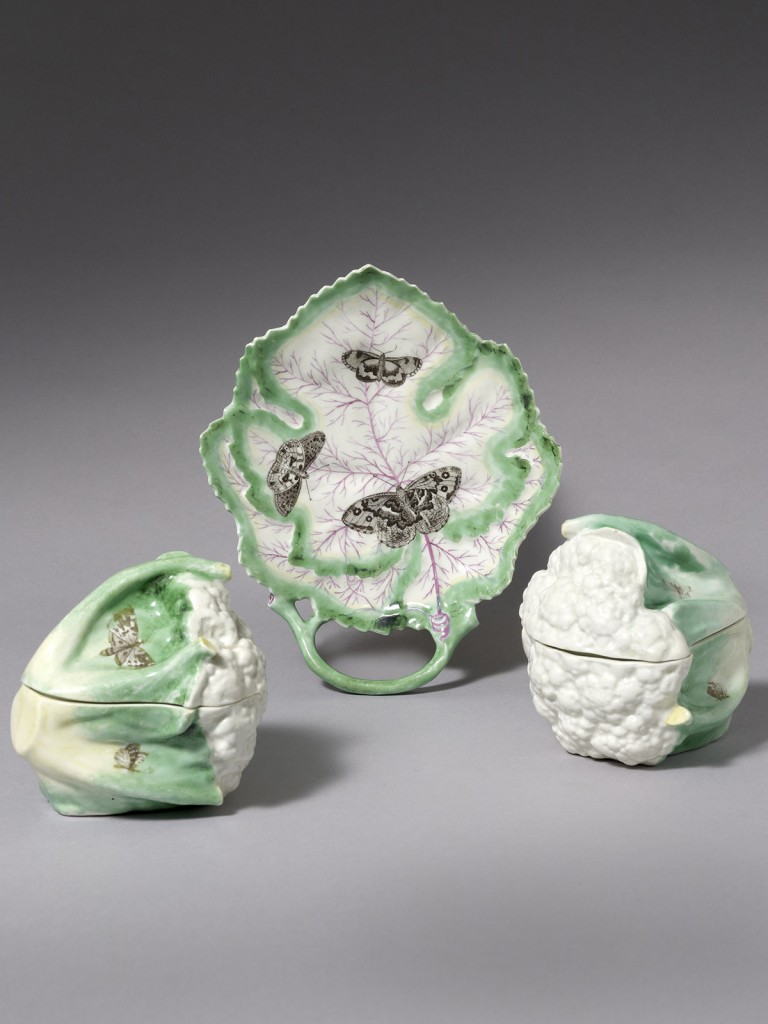 A Rare Pair of Worcester Cauliflower Boxes and Covers and a Leaf Shaped Stand