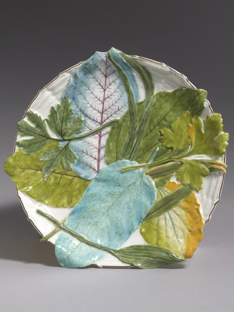 A Rare Chelsea Circular Leaf and Basket Weave Moulded Stand
