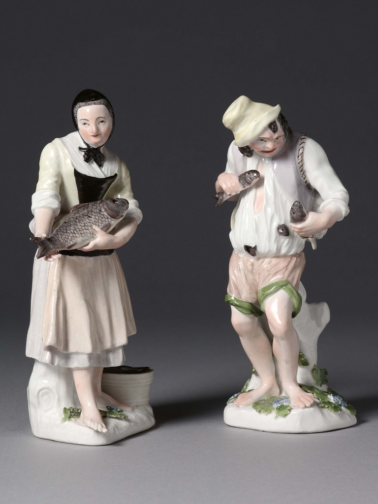 A very rare pair of Meissen figures of a Fish Seller and his wife