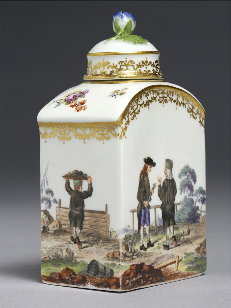 A rare Meissen Tea Caddy and Cover depicting Mining subjects