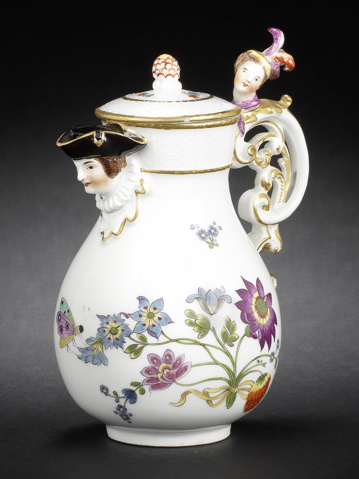 A Meissen Baluster Hot-Milk Jug and Cover