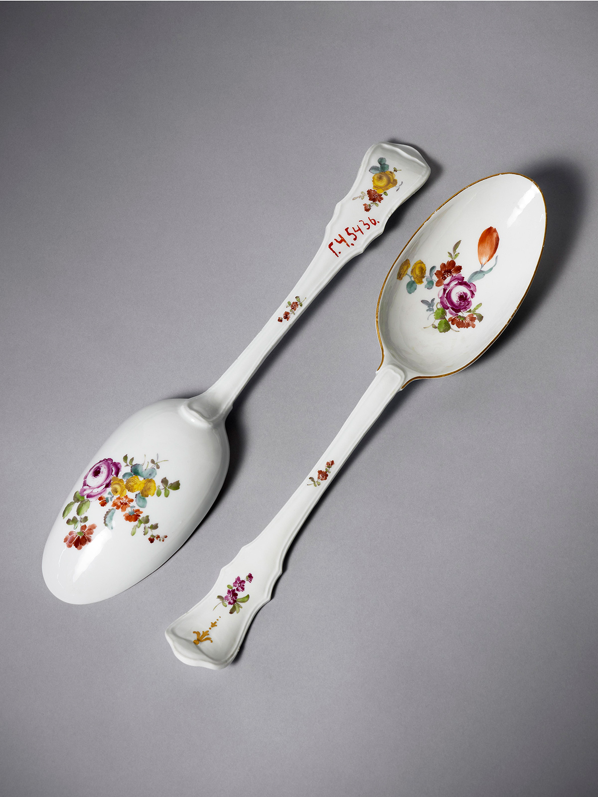 Rare pair of large Meissen Spoons or Ladles