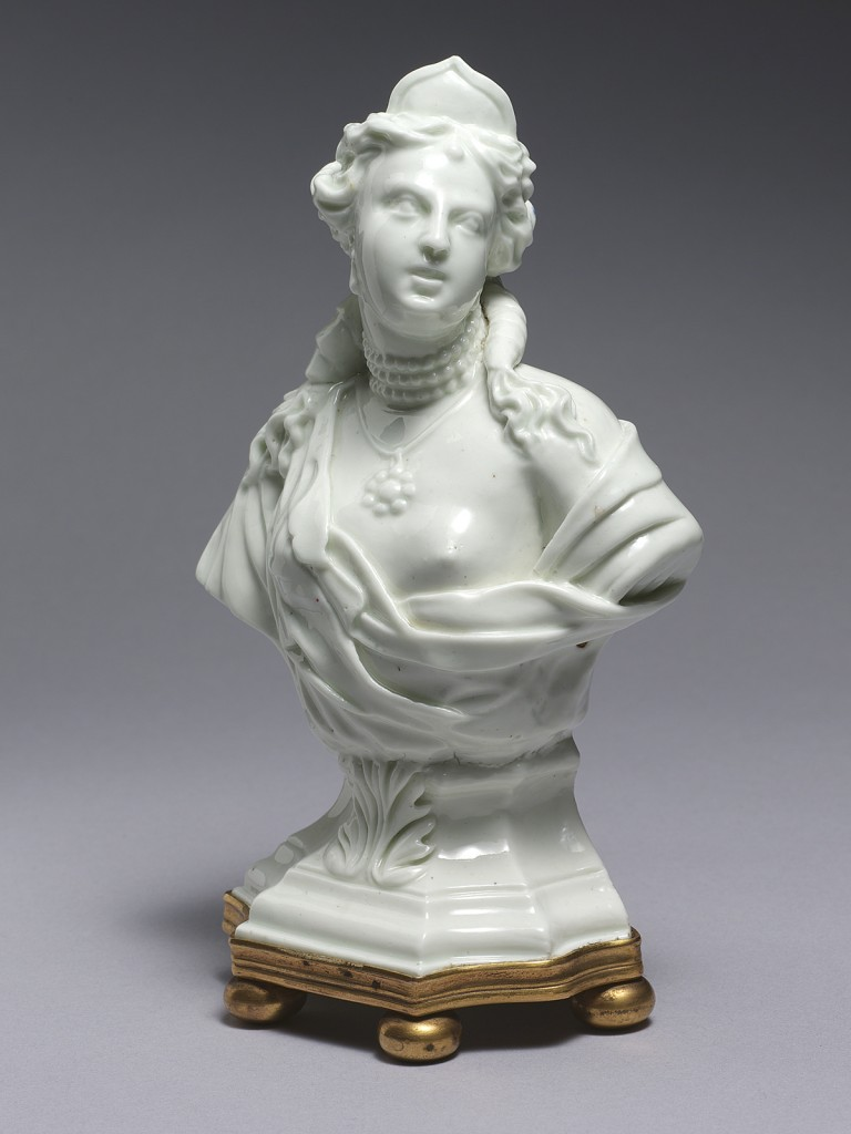 An extremely rare Tournai figural bust of Venus