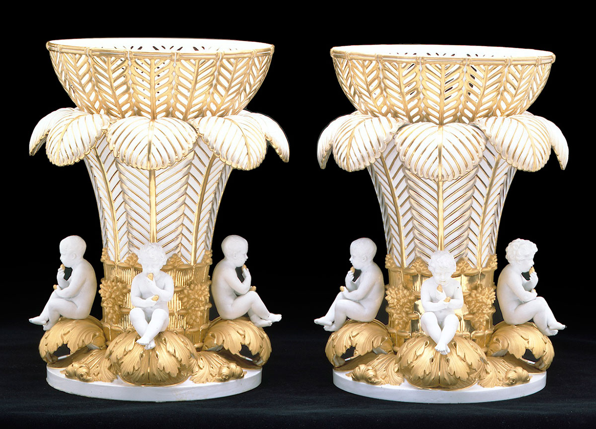 Pair of Sevres Feather moulded Vases circa 1810