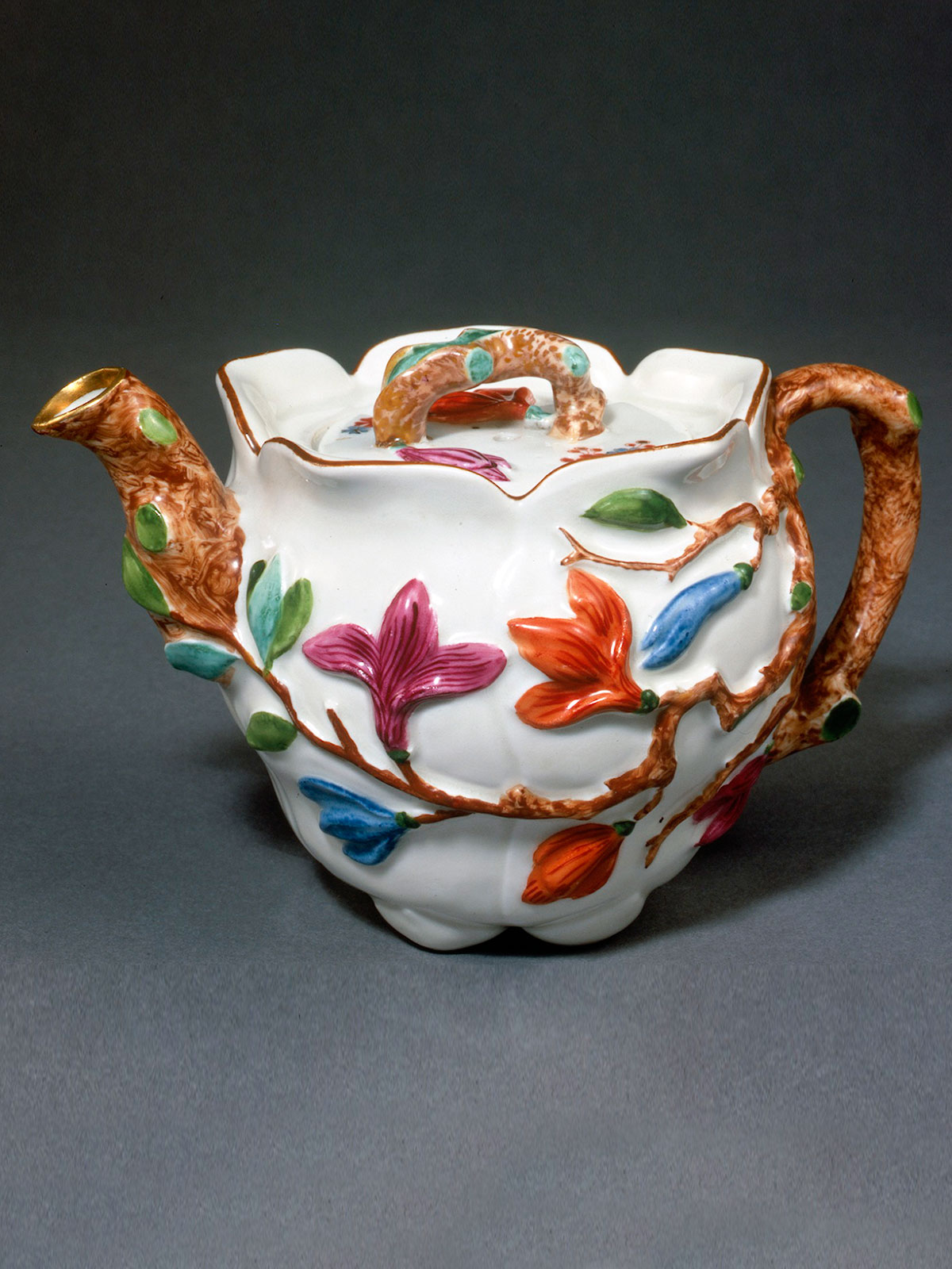 Early Meissen Peach shaped Teapot and Cover circa 1725-30