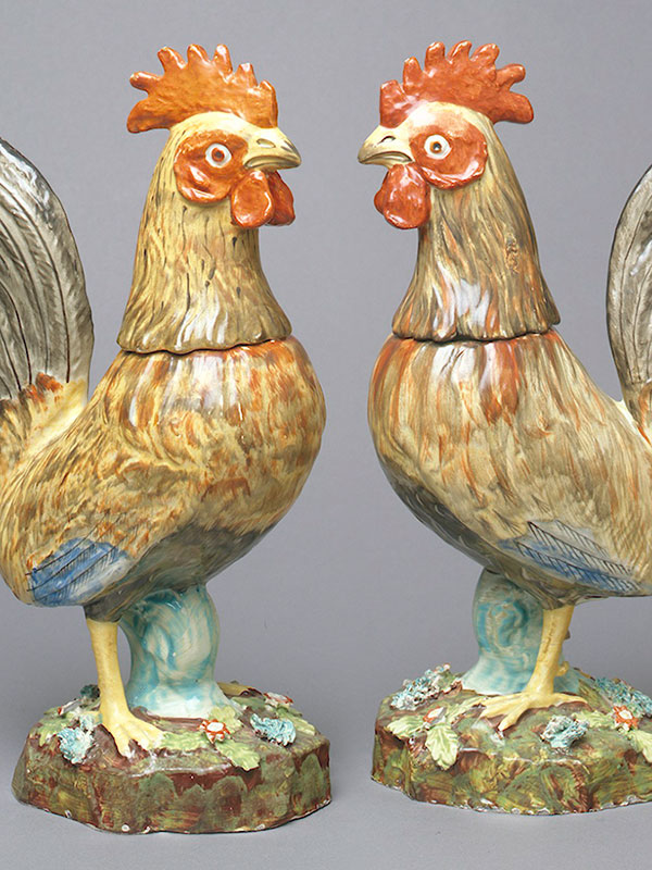 Staffordshire Cockerel Jugs and Cups in the form of Covers circa 1800