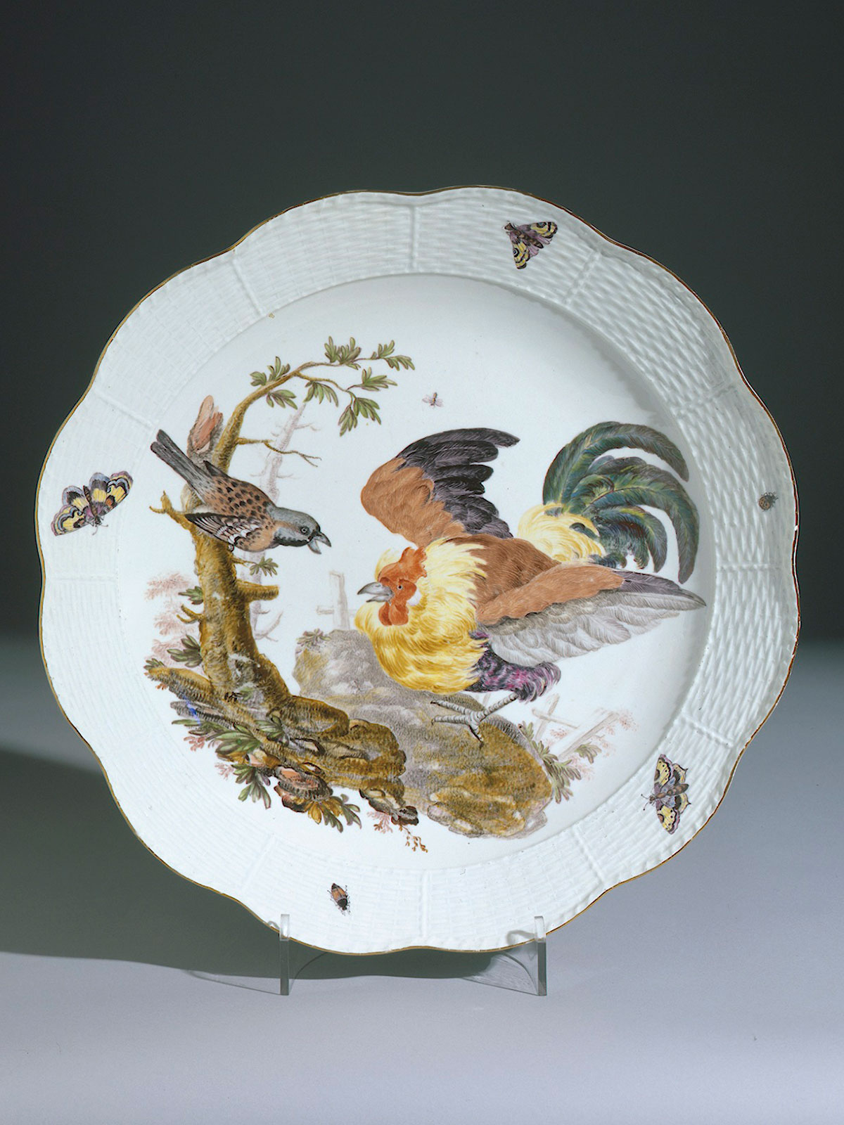 Large Meissen Charger, painted with a Cockerel. Dukes de Tallyrand