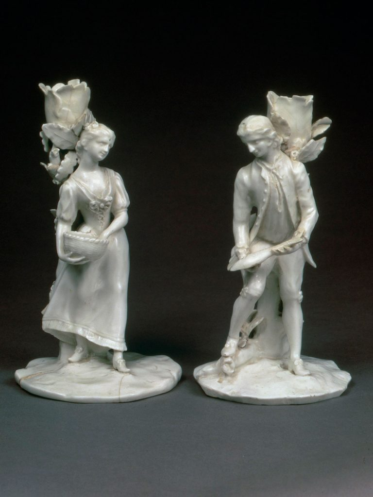Pair of Girl in a Swing Figural Candlesticks emblematic of Water and Earth circa 1749-51
