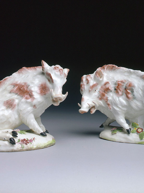 Pair of Derby models of Florentine Boars circa 1755