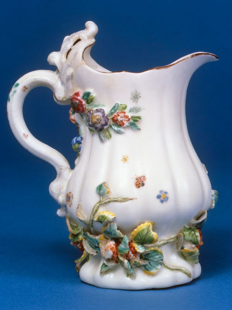 Chelsea Silver Shaped Creamjug, encrusted with flowers and leaves circa 1745-49