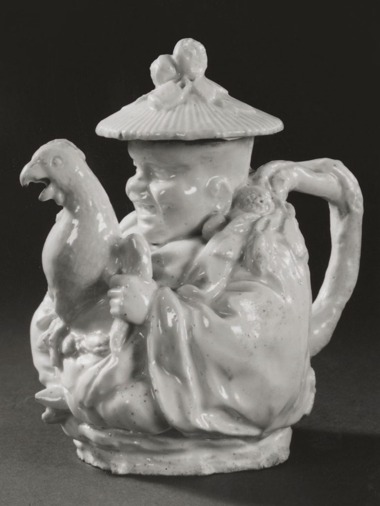 Chelsea White Chinaman Teapot with Parrot Spout circa 1745-49