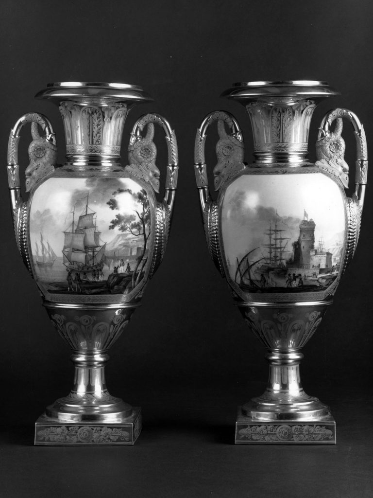 Paris Porcelain Vases with Shipping Scenes circa 1820