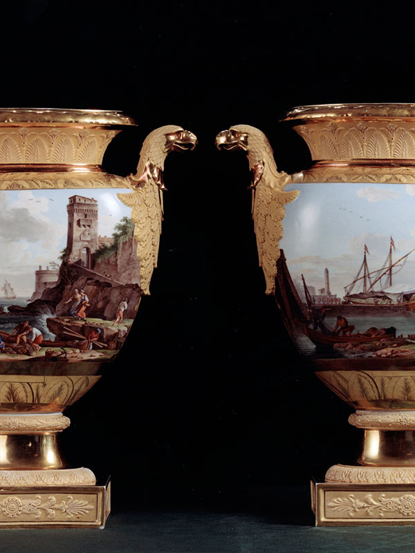 Pair of Berlin Vases with Eagle handles, Shipping scenes circa 1815