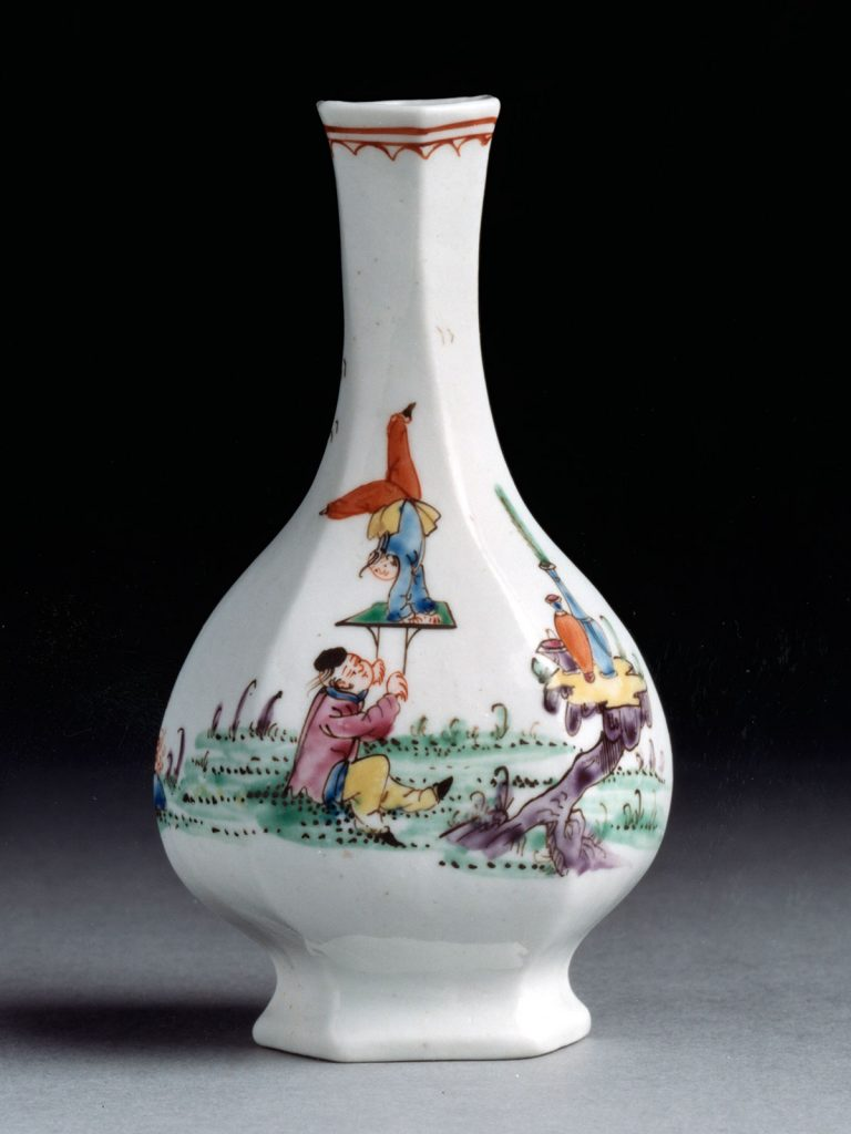 Early Dr Wall Worcester Acrobat Bottle Vase circa 1753