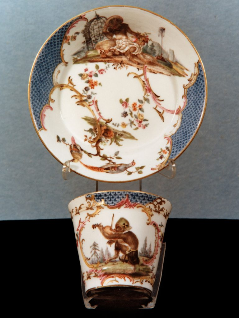 Nymphenburg Cup and Saucer painted with monkeys circa 1755
