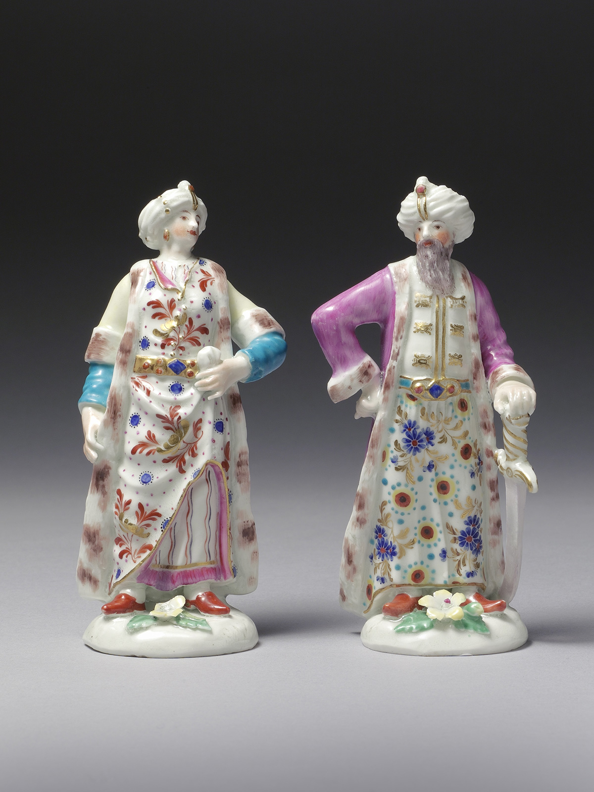Pair of First Period Dr Wall Worcester Figures of a Turk and the Levantine Lady