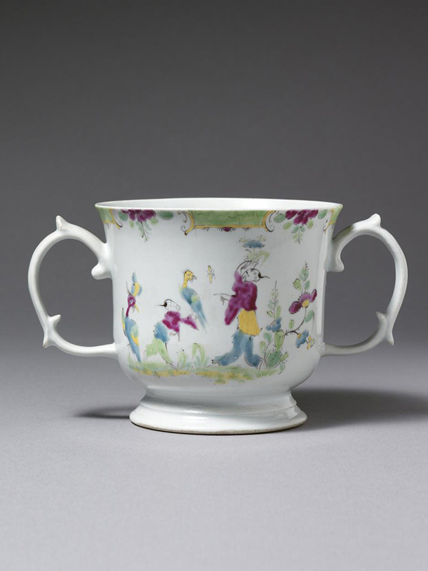 Longton Hall twin handled Chinoiserie Loving Cup