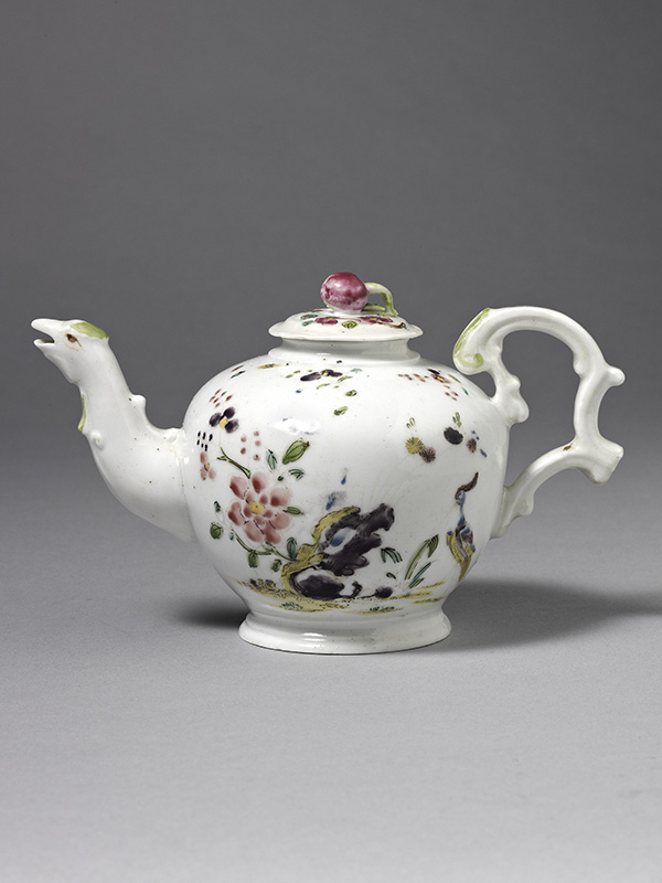 Longton Hall Teapot and Cover of Bullet shape painted with chinoiserie birds
