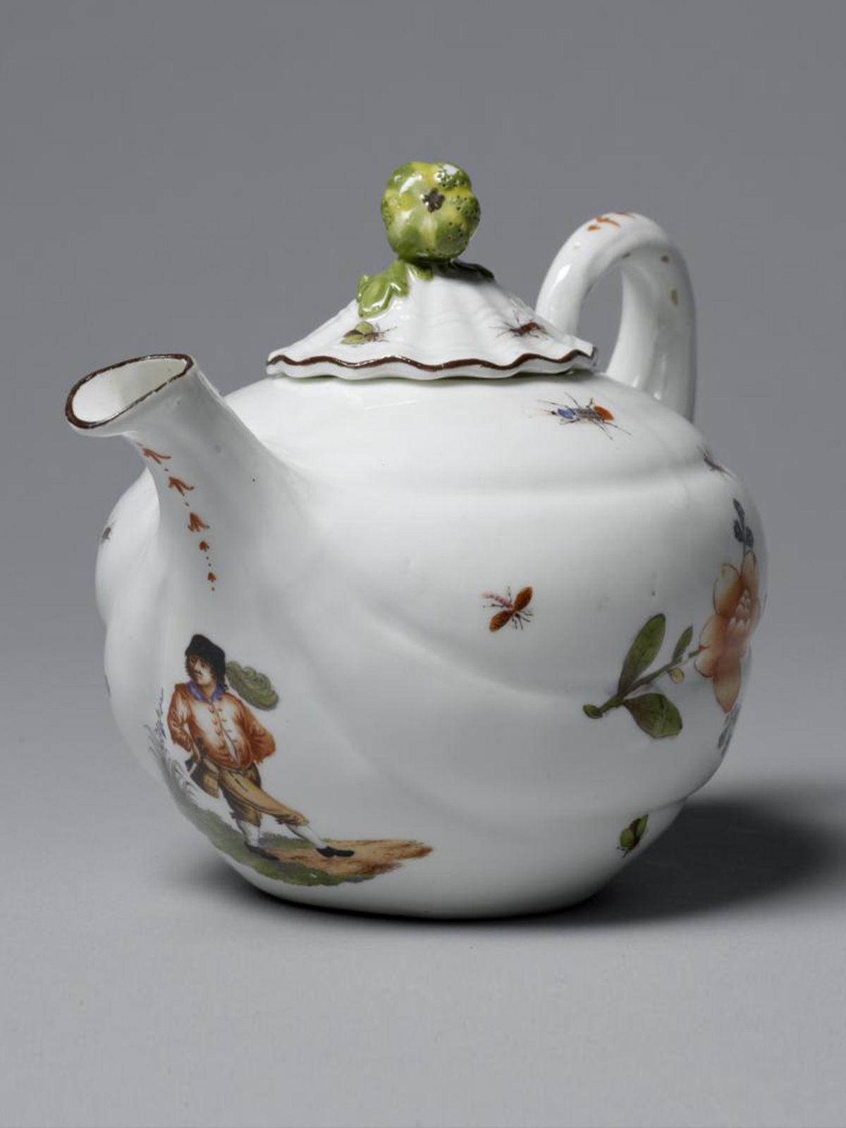 Meissen Melon shaped Teapot and Cover