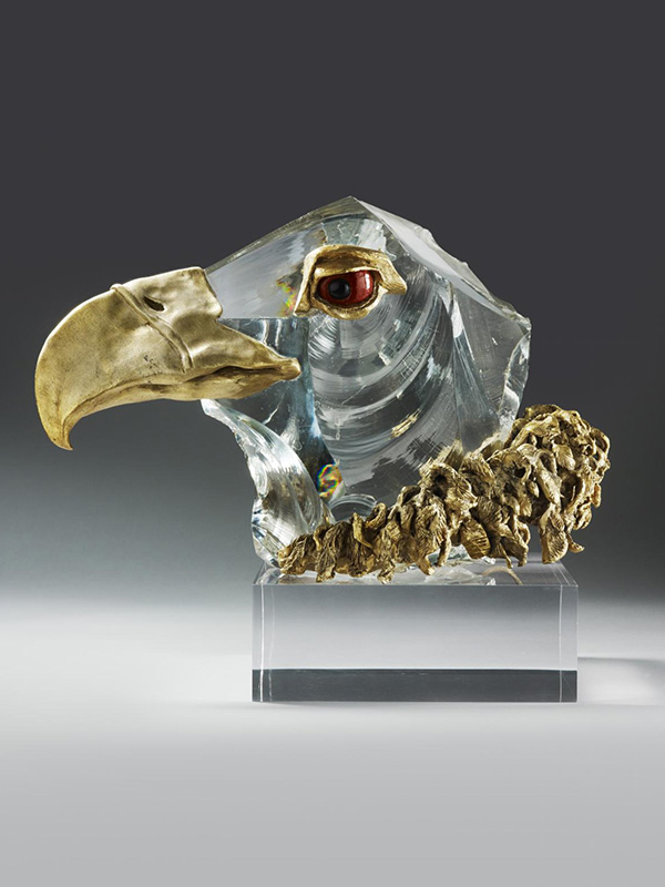 Chaumet Glass and Ormolu mounted Eagle