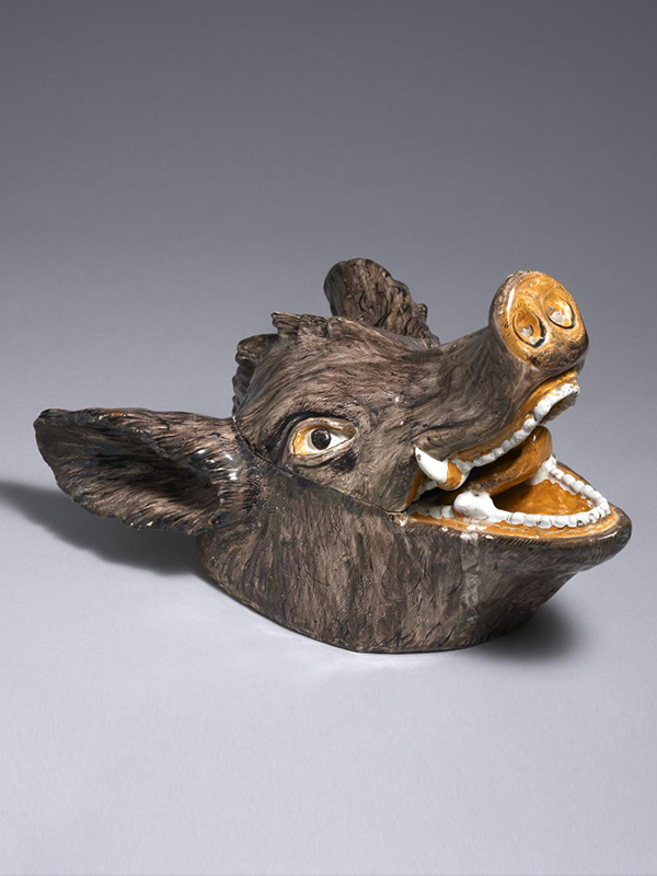 German Fayence Boar's Head Tureen and Cover