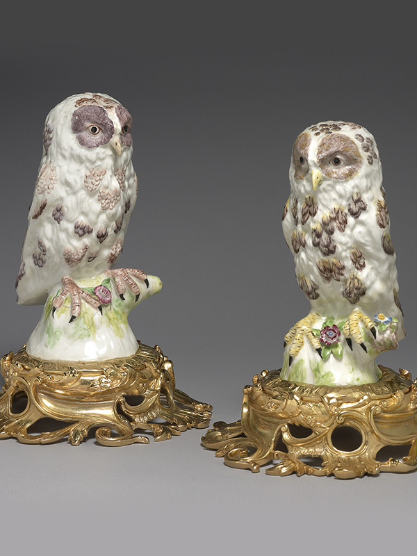 Pair of Ormolu mounted Bowl Owls