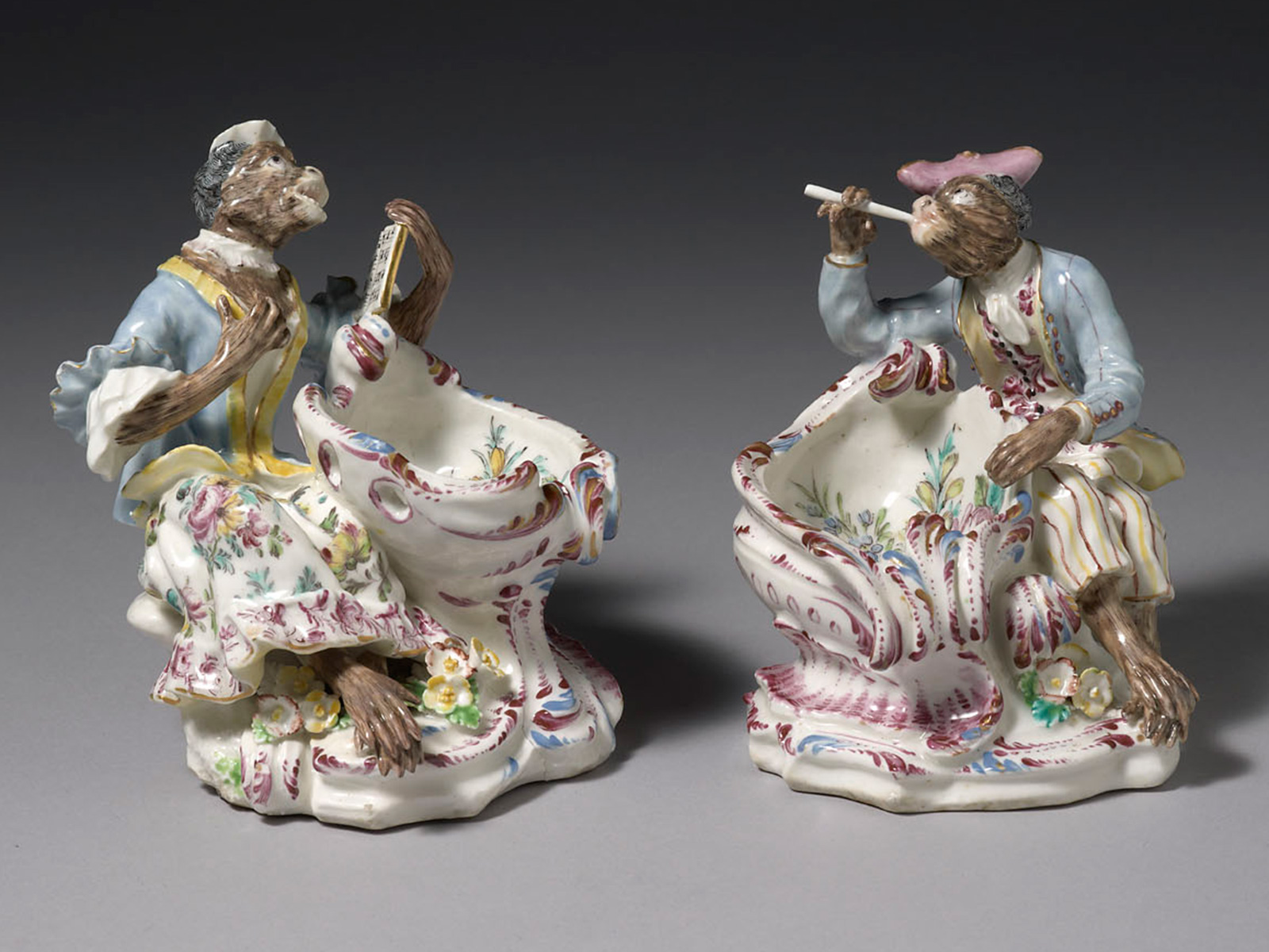 Pair of Bow Singerie Monkey Sweetmeat Dishes