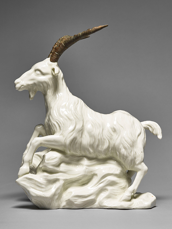 St Cloud Porcelain Goat, with ormolu Capricorn horns