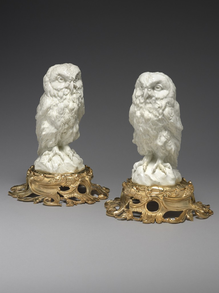 Pair of Ormolu Mounted Chelsea Models of The Great Hawk Owl