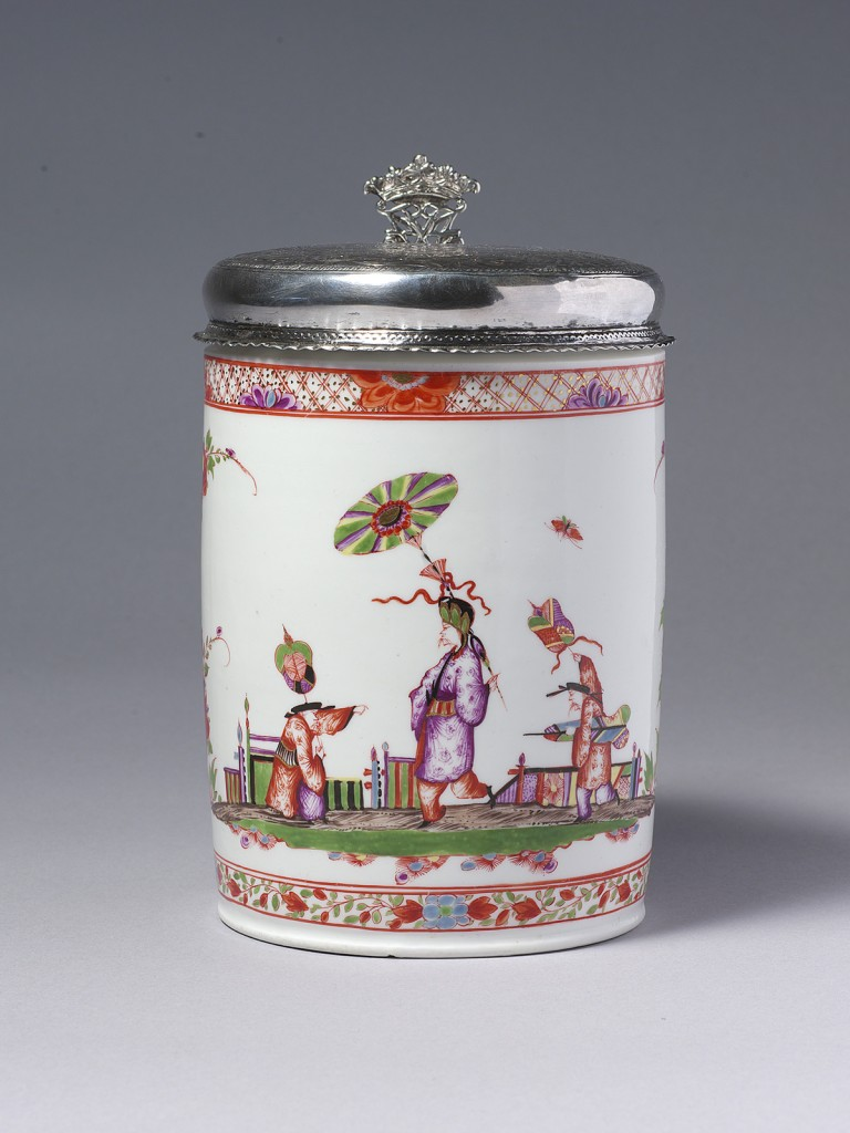 Meissen Large Tankard and Silver Cover