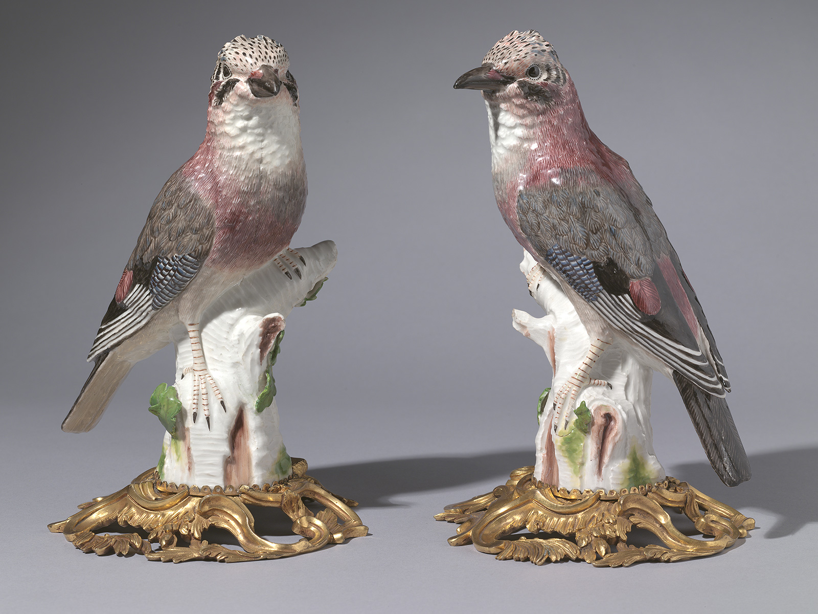 Pair of Ormolu mounted Meissen Porcelain Models of Jays, modelled by J.J.Kaendler