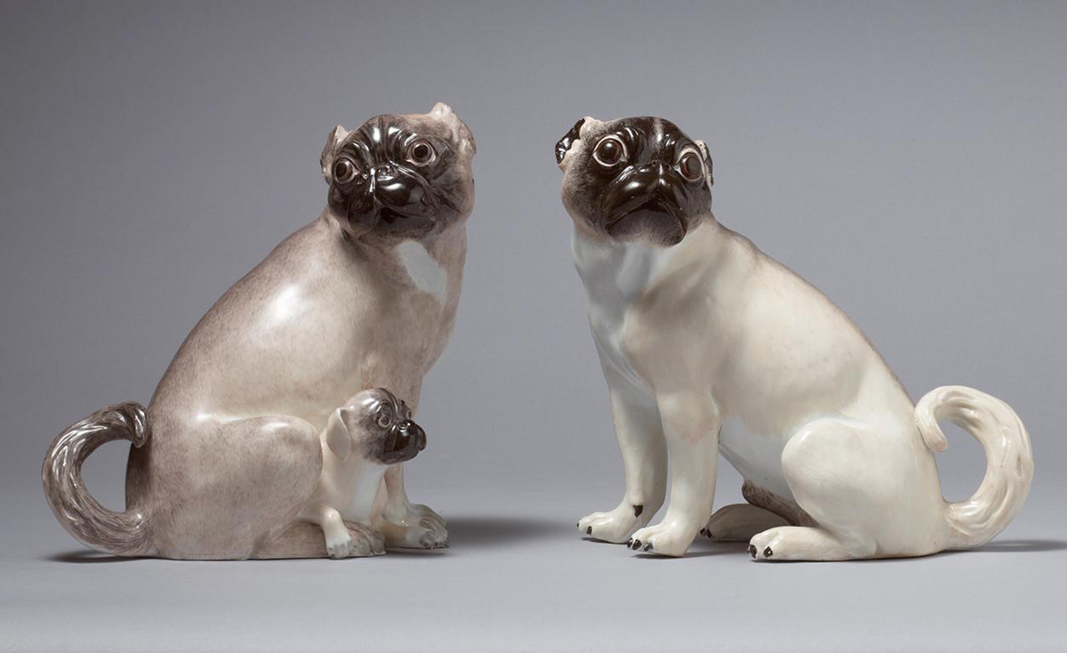 Pair of Meissen Pug Dogs, modelled by J.J.Kaendler