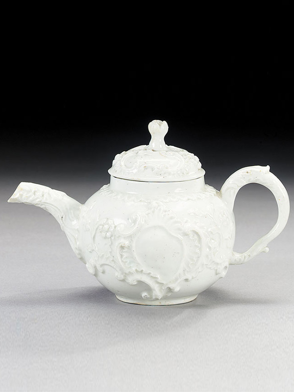 Bow white rococo Teapot and Cover moulded in the 'silver taste'