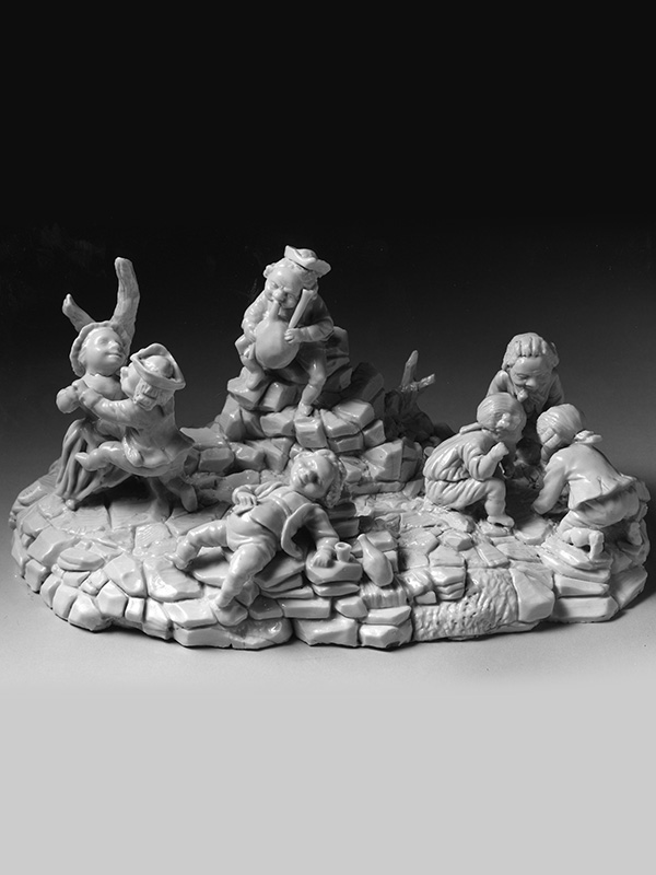 Cozzi large figural group of a number of Dwarfs in animated play together