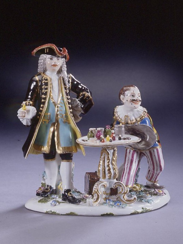 Meissen group of Harlequin and the Quack Doctor, modelled by J.J.Kaendler