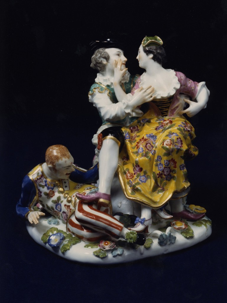 Meissen Group of the Indiscreet Harlequin, modelled by J.J.Kaendler