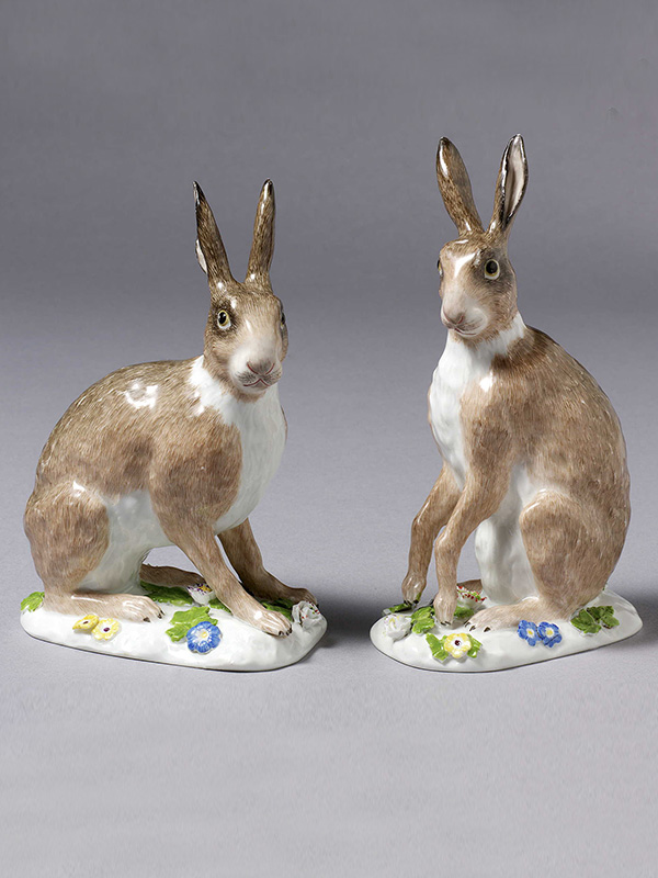 A rare pair of Meissen Hares, modelled by J.J.Kaendler
