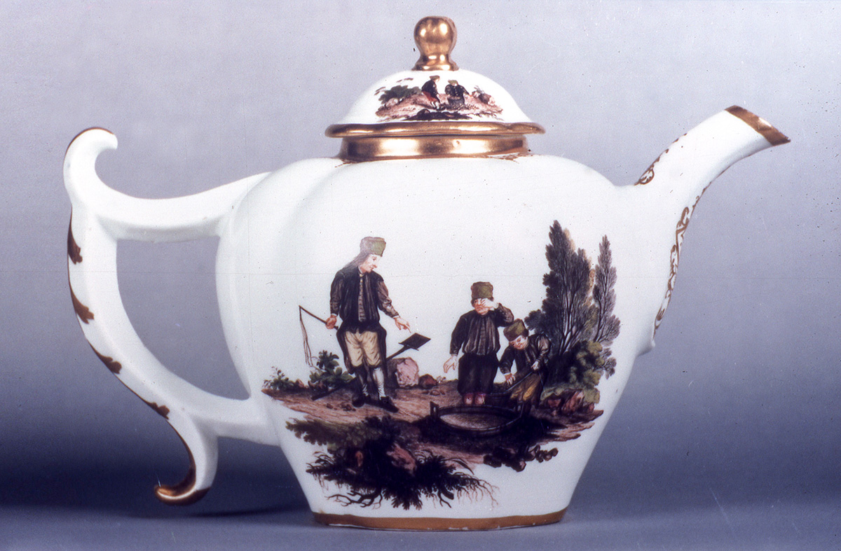 Meissen Teapot and Cover painted with Miners