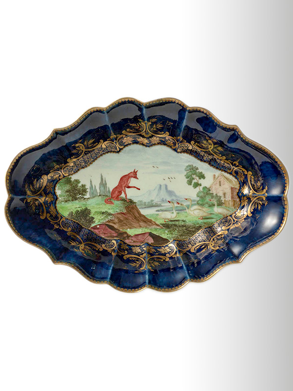 Dr Wall Worcester Porcelain Oval Dish
