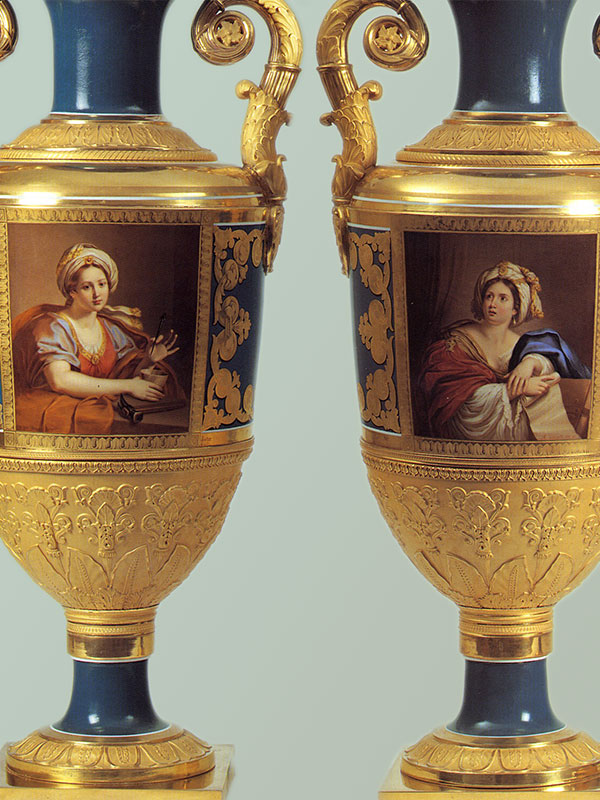 Pair of Imperial Russian Porcelain Vases St Petersburg Manufactory