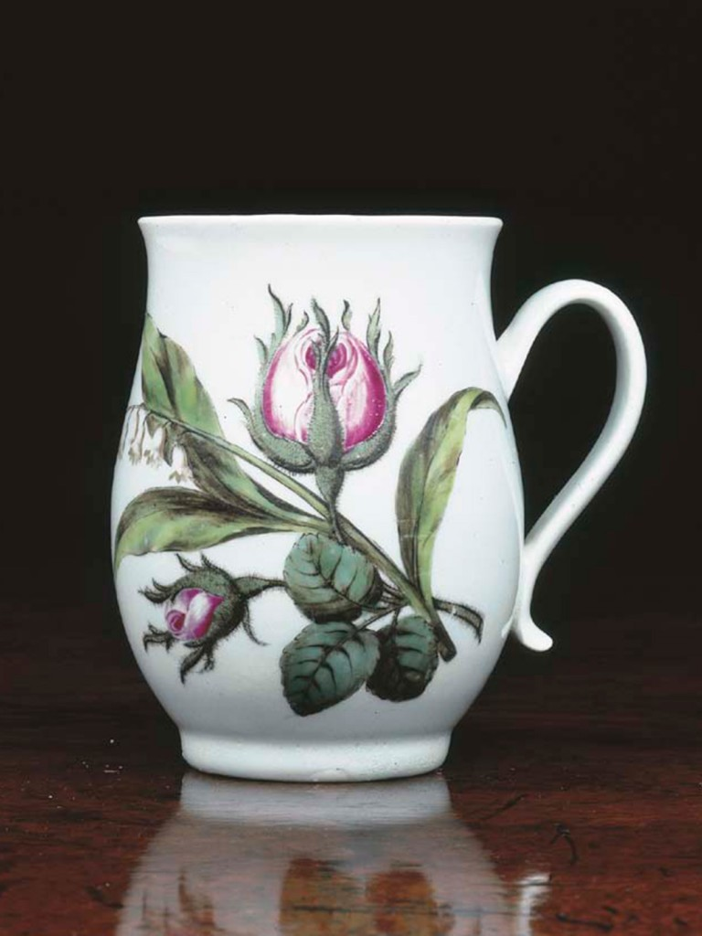 Chaffers Liverpool Baluster shaped Mug, painted with Doves