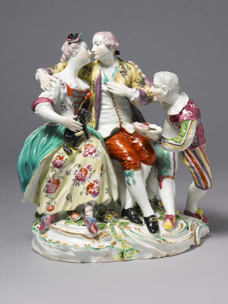 An extremely rare large Derby Group of 'Isabella, the Gallant and the Jester'