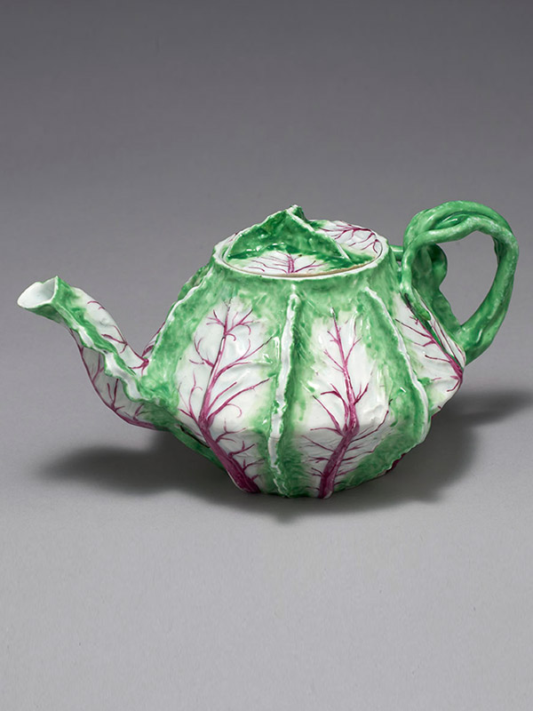 An extremely rare Longton Hall Leaf Shape Teapot and Cover
